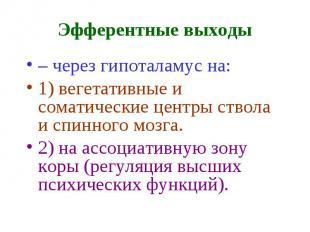 Эфферентные выходы – через гипоталамус на: 1) вегетативные и соматические центры