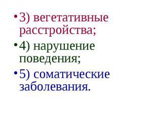 3) вегетативные расстройства; 3) вегетативные расстройства; 4) нарушение поведен