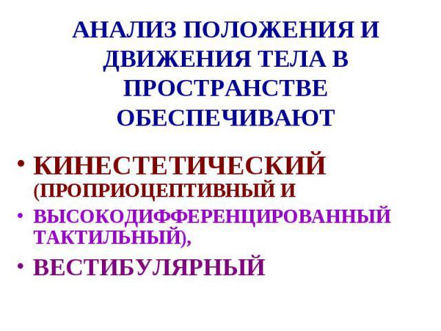 АНАЛИЗ ПОЛОЖЕНИЯ И ДВИЖЕНИЯ ТЕЛА В ПРОСТРАНСТВЕ ОБЕСПЕЧИВАЮТ КИНЕСТЕТИЧЕСКИЙ (ПРОПРИОЦЕПТИВНЫЙ И ВЫСОКОДИФФЕРЕНЦИРОВАННЫЙ ТАКТИЛЬНЫЙ), ВЕСТИБУЛЯРНЫЙ