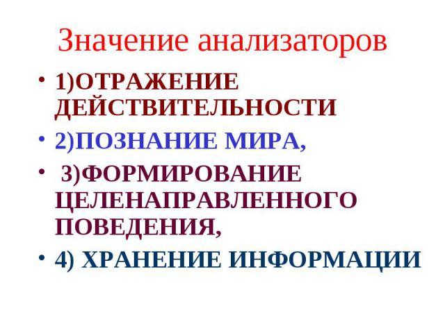 Значение анализаторов 1)ОТРАЖЕНИЕ ДЕЙСТВИТЕЛЬНОСТИ 2)ПОЗНАНИЕ МИРА, 3)ФОРМИРОВАНИЕ ЦЕЛЕНАПРАВЛЕННОГО ПОВЕДЕНИЯ, 4) ХРАНЕНИЕ ИНФОРМАЦИИ