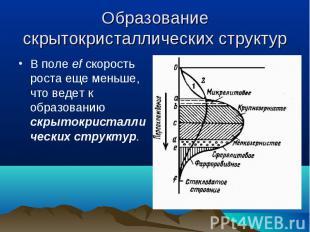 В поле ef скорость роста еще меньше, что ведет к образованию скрытокристаллическ