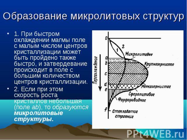 1. При быстром охлаждении магмы поле с малым числом центров кристаллизации может быть пройдено также быстро, и затвердевание происходит в поле с большим количеством центров кристаллизации. 1. При быстром охлаждении магмы поле с малым числом центров …
