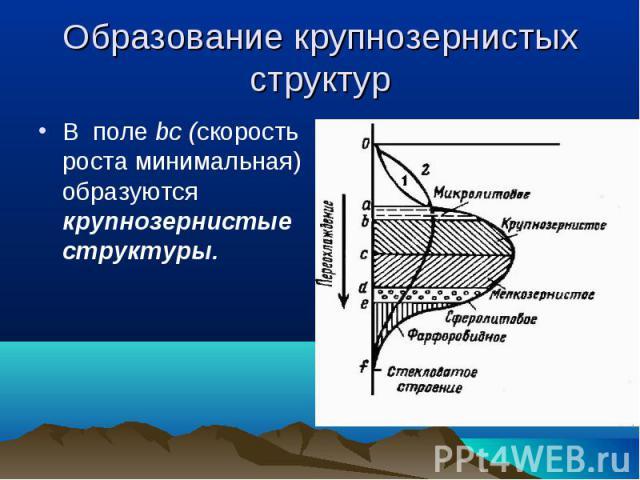 В поле bc (скорость роста минимальная) образуются крупнозернистые структуры. В поле bc (скорость роста минимальная) образуются крупнозернистые структуры.