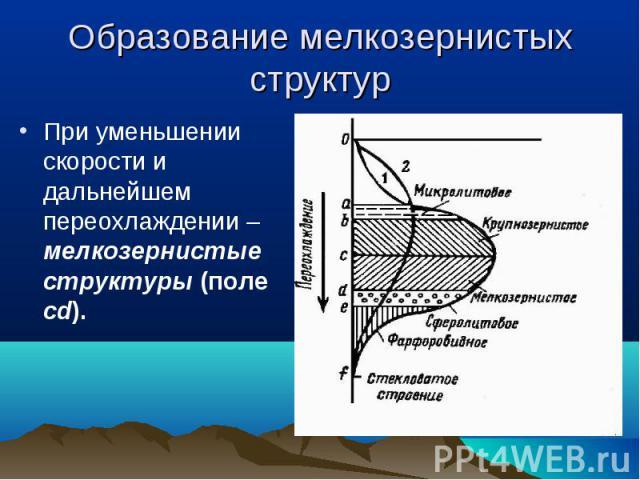 При уменьшении скорости и дальнейшем переохлаждении – мелкозернистые структуры (поле cd). При уменьшении скорости и дальнейшем переохлаждении – мелкозернистые структуры (поле cd).