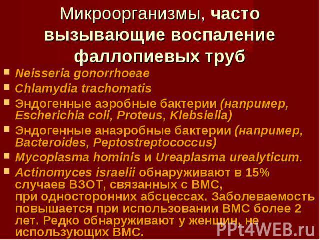Neisseria gonorrhoeae Neisseria gonorrhoeae Chlamydia trachomatis Эндогенные аэробные бактерии (например, Escherichia coli, Proteus, Klebsiella) Эндогенные анаэробные бактерии (например, Bacteroides, Peptostreptococcus) Mycoplasma hominis и Ureaplas…