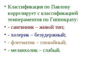 Классификация по Павлову коррелирует с классификацией темпераментов по Гиппократ