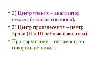 2) Центр чтения – анализатор смысла (угловая извилина). 2) Центр чтения – анализ