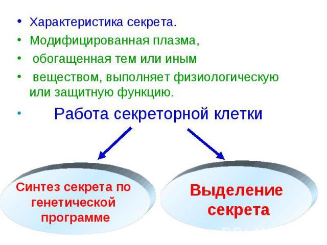 Характеристика секрета. Характеристика секрета. Модифицированная плазма, обогащенная тем или иным веществом, выполняет физиологическую или защитную функцию. Работа секреторной клетки