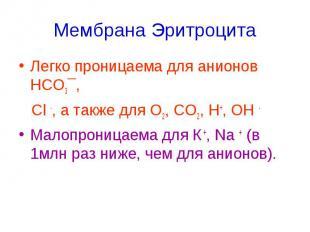 Мембрана Эритроцита Легко проницаема для анионов НСО3¯, Cl -, а также для О2, СО