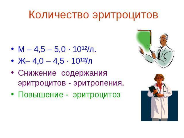 М – 4,5 – 5,0 ∙ 10¹²/л. Ж– 4,0 – 4,5 ∙ 10¹²/л Снижение содержания эритроцитов - эритропения. Повышение - эритроцитоз