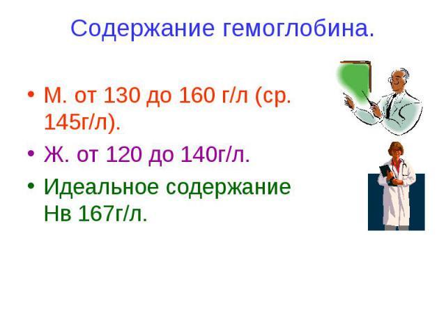 Содержание гемоглобина. М. от 130 до 160 г/л (ср. 145г/л). Ж. от 120 до 140г/л. Идеальное содержание Нв 167г/л.