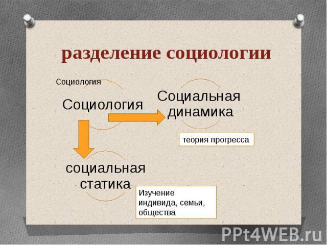 разделение социологии