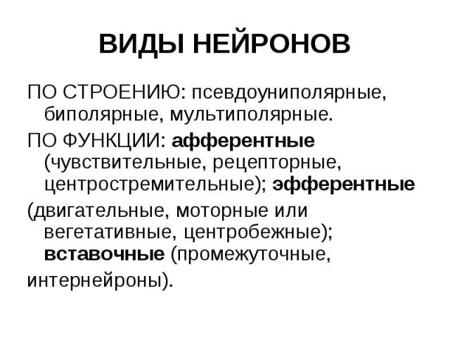 ВИДЫ НЕЙРОНОВ ПО СТРОЕНИЮ: псевдоуниполярные, биполярные, мультиполярные. ПО ФУНКЦИИ: афферентные (чувствительные, рецепторные, центростремительные); эфферентные (двигательные, моторные или вегетативные, центробежные); вставочные (промежуточные, инт…