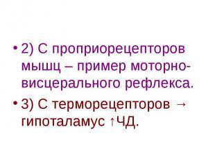 2) С проприорецепторов мышц – пример моторно-висцерального рефлекса. 3) С термор