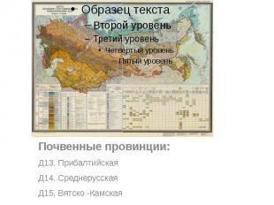 Почвенные провинции: Почвенные провинции: Д13. Прибалтийская Д14. Среднерусская