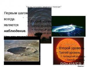 Как мы получаем сведения о природе? Первым шагом всегда является наблюдение. Что
