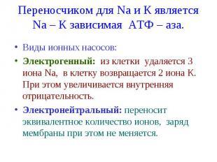 Переносчиком для Na и К является Nа – К зависимая АТФ – аза. Виды ионных насосов