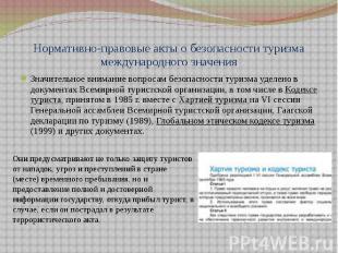 Нормативно-правовые акты о безопасности туризма международного значения Значител