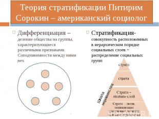Дифференциация – деление общества на группы, характеризующиеся различными призна