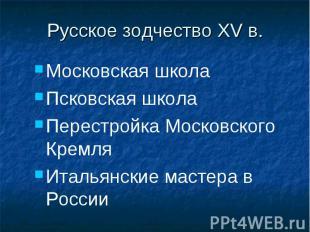 Московская школа Московская школа Псковская школа Перестройка Московского Кремля
