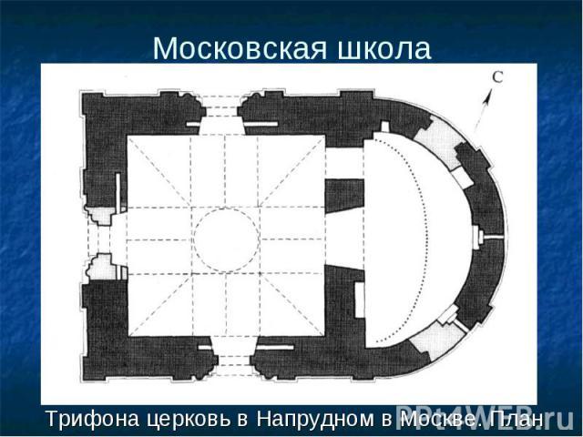 Трифона церковь в Напрудном в Москве. План Трифона церковь в Напрудном в Москве. План