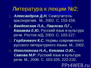 Александров Д.Н. Самоучитель красноречия. М., 2002. С. 153-159. Александров Д.Н.