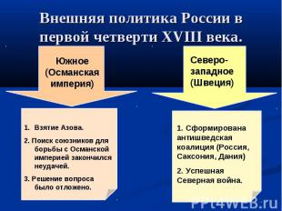 Внешняя политика России в первой четверти XVIII века.