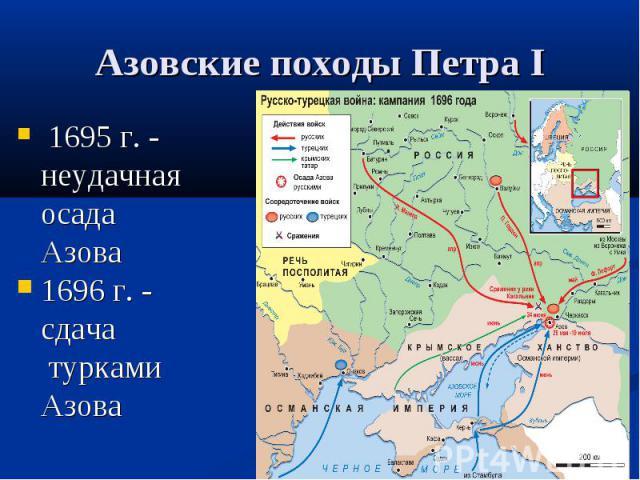 Азовские походы Петра I 1695 г. - неудачная осада Азова 1696 г. - сдача турками Азова