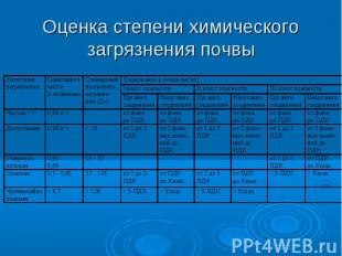 Оценка степени химического загрязнения почвы
