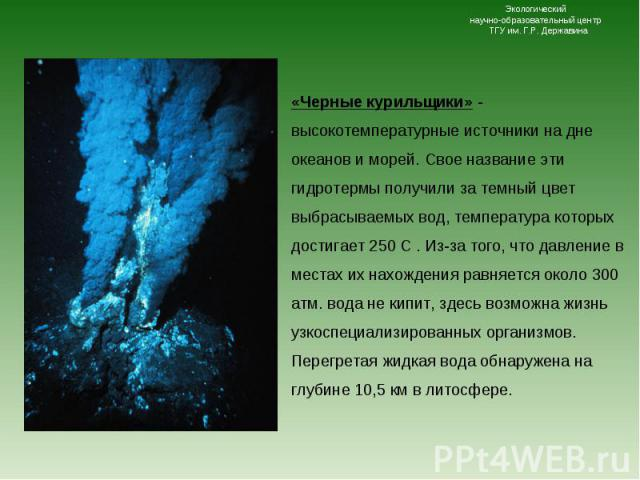 «Черные курильщики» - высокотемпературные источники на дне океанов и морей. Свое название эти гидротермы получили за темный цвет выбрасываемых вод, температура которых достигает 250 С . Из-за того, что давление в местах их нахождения равняется около…
