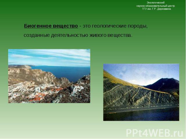 Биогенное вещество - это геологические породы, созданные деятельностью живого вещества. Биогенное вещество - это геологические породы, созданные деятельностью живого вещества.