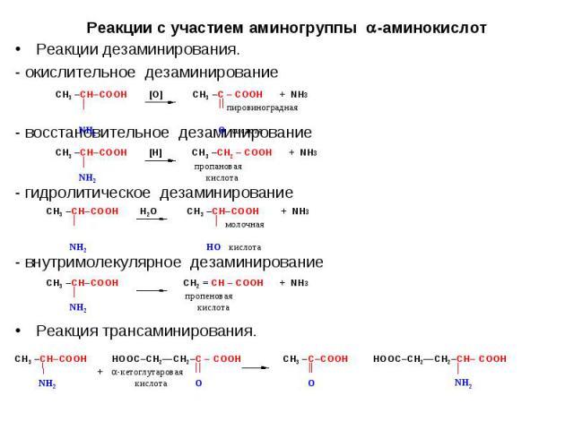Реакции дезаминирования. Реакции дезаминирования. - окислительное дезаминирование - восстановительное дезаминирование - гидролитическое дезаминирование - внутримолекулярное дезаминирование Реакция трансаминирования.