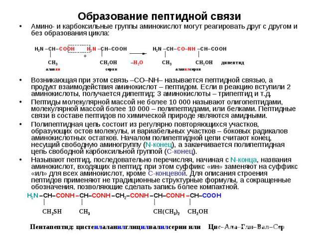 Амино- и карбоксильные группы аминокислот могут реагировать друг с другом и без образования цикла: Амино- и карбоксильные группы аминокислот могут реагировать друг с другом и без образования цикла: Возникающая при этом связь –СО–NН– называется пепти…