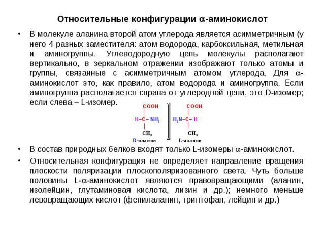В молекуле аланина второй атом углерода является асимметричным (у него 4 разных заместителя: атом водорода, карбоксильная, метильная и аминогруппы. Углеводородную цепь молекулы располагают вертикально, в зеркальном отражении изображают только атомы …