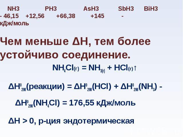 NH4Cl(г) = NH3(г) + HCl(г)↑ NH4Cl(г) = NH3(г) + HCl(г)↑ ΔН0298(реакции) = ΔН0298(HCl) + ΔН0298(NH3) - ΔН0298(NH4Cl) = 176,55 кДж/моль ΔН > 0, р-ция эндотермическая