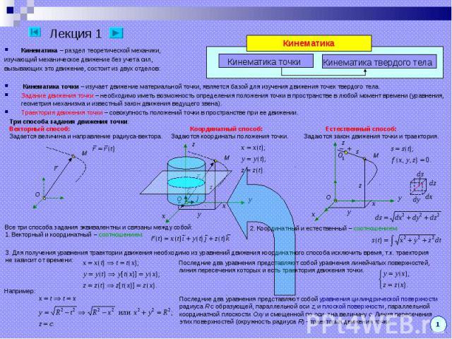 Кинематика – раздел теоретической механики, Кинематика – раздел теоретической механики, изучающий механическое движение без учета сил, вызывающих это движение, состоит из двух отделов: Кинематика точки – изучает движение материальной точки, является…