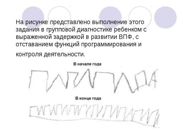 На рисунке представлено выполнение этого задания в групповой диагностике ребенком с выраженной задержкой в развитии ВПФ, с отставанием функций программирования и контроля деятельности.
