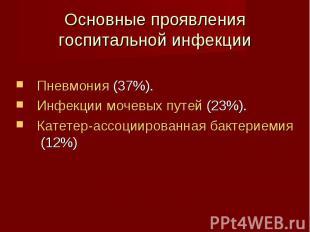 Пневмония (37%). Пневмония (37%). Инфекции мочевых путей (23%). Катетер-ассоциир