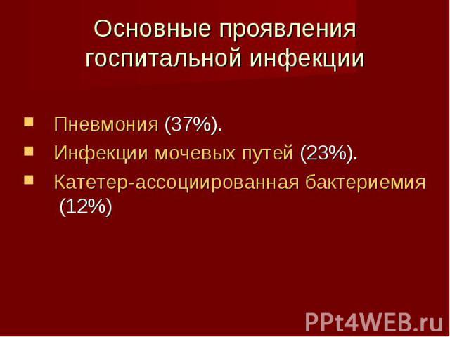 Пневмония (37%). Пневмония (37%). Инфекции мочевых путей (23%). Катетер-ассоциированная бактериемия (12%)