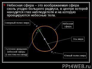 Небесная сфера – это воображаемая сфера сколь угодно большого радиуса, в центре
