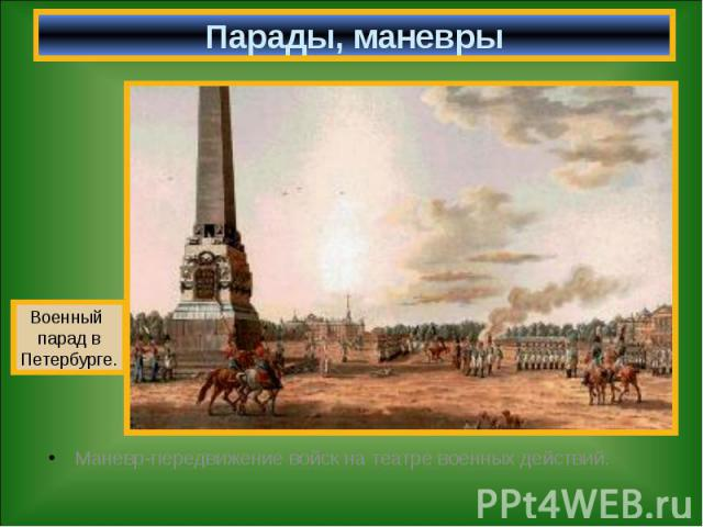 Парады, маневры Маневр-передвижение войск на театре военных действий.