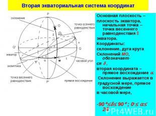 Основная плоскость Основная плоскость плоскость экватора, начальная точка точка