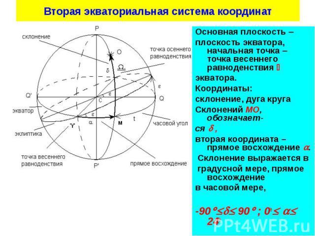 Основная плоскость Основная плоскость плоскость экватора, начальная точка точка весеннего равноденствия экватора. Координаты: склонение, дуга круга Склонений МО, обозначает- ся , вторая координата – прямое восхождение . Склонение выражается в градус…