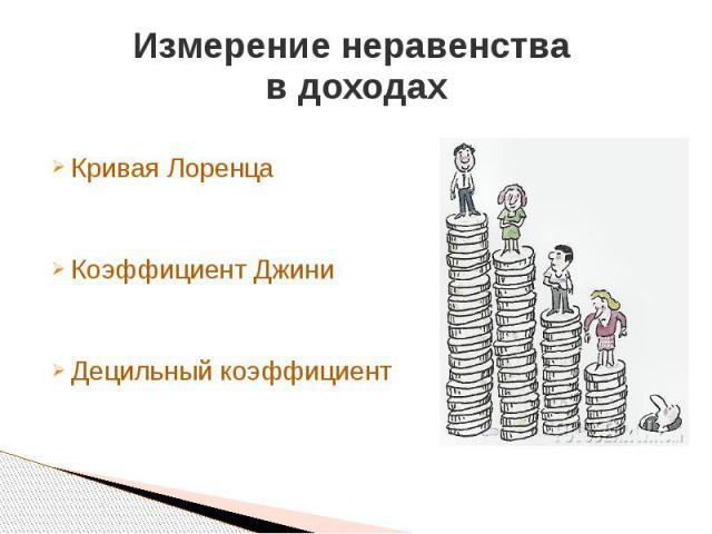Измерение неравенства в доходах Кривая Лоренца Коэффициент Джини Децильный коэффициент