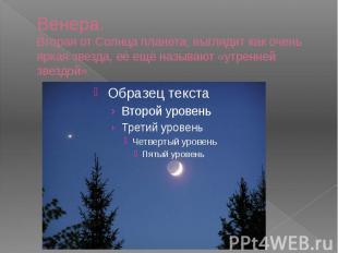 Венера. Вторая от Солнца планета, выглядит как очень яркая звезда, её ещё называ
