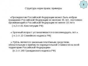 Структура норм права: примеры «Президентом Российской Федерации может быть избра