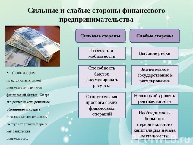 Сильные и слабые стороны финансового предпринимательства Особым видом предпринимательской деятельности является финансовый бизнес. Сфера его деятельности денежное обращение и кредит. Финансовая деятельность выступает в таких формах как банковская де…