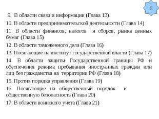 9. В области связи и информации (Глава 13) 10. В области предпринимательской дея