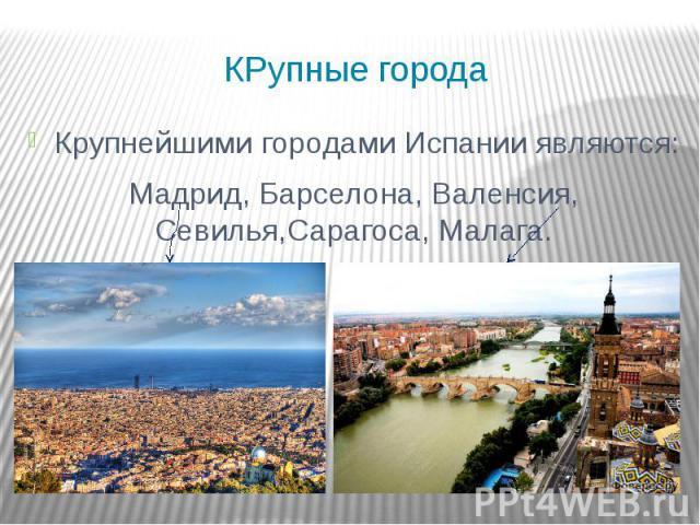 КРупные города Крупнейшими городами Испании являются: Мадрид, Барселона, Валенсия, Севилья,Сарагоса, Малага.