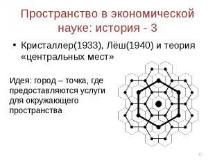 Кристаллер(1933), Лёш(1940) и теория «центральных мест» Кристаллер(1933), Лёш(19